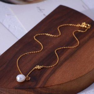 Tory Burch Natural Pearl Logo Gold Plated Necklace